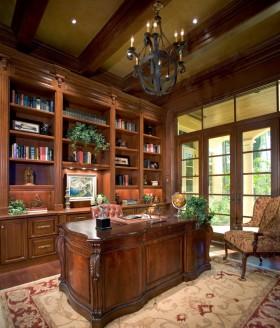 美式风格大气橙色书房装潢设计