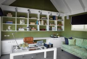清新田园风格绿色书房装修布置