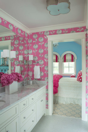 粉色个性现代风格卫生间装修效果图