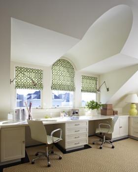 白色唯美田园风格书房吊顶设计赏析
