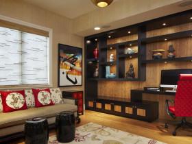 新古典风格雅致黑色背景墙设计图
