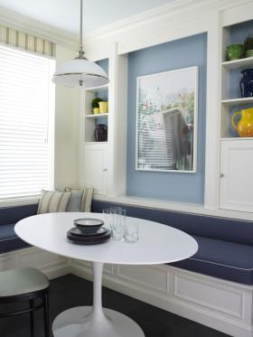 蓝色简约风格餐厅设计装潢