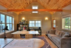 橙色个性简约风书房装潢设计