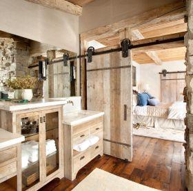 美式风格米色浴室柜装潢案例