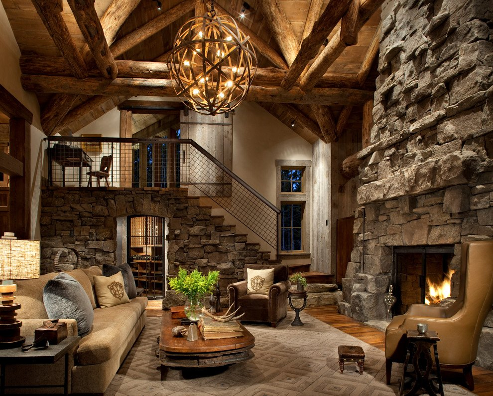 美式风格大气原木色客厅装修欣赏