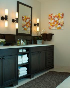 简约风格黑色卫生间浴室柜装饰设计图片