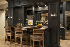 质感黑色简欧风吧台装修效果图片