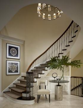 黄色素雅简约风楼梯装修设计