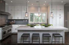 大气简约风格灰色开放式厨房美图