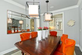 创意橙色田园餐厅吊顶装修效果图