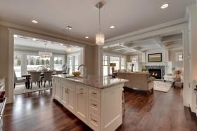 白色美式风格开放式厨房吧台装修案例