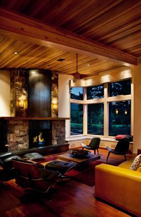 橙色美式风格客厅吊顶装修