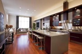 红色个性简约风开放式厨房装修设计