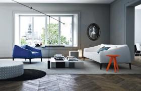 蓝色简约客厅装修图片
