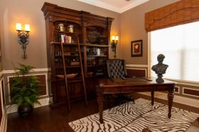 美式风格个性橙色书房设计图片