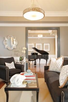米色雅致时尚简欧风格客厅吊顶装修案例