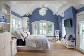 蓝色地中海风格卧室装饰设计图片