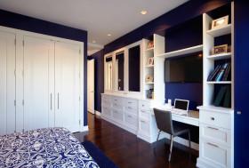 蓝色简约青花瓷风格卧室衣柜图片