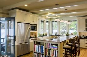 素雅米色简欧风格厨房吧台装修设计