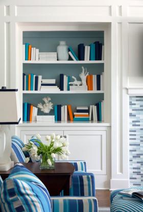 地中海蓝色浪漫收纳书柜装修效果图片