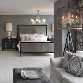 2016灰色新古典风格卧室吊顶装饰图