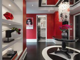 摩登时尚简约红色玄关设计装潢