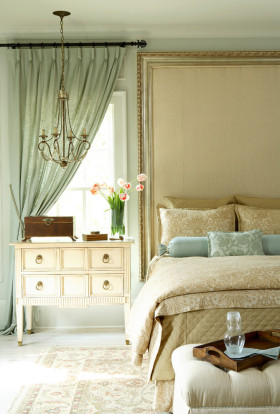 欧式清爽小清新绿色卧室装修布置