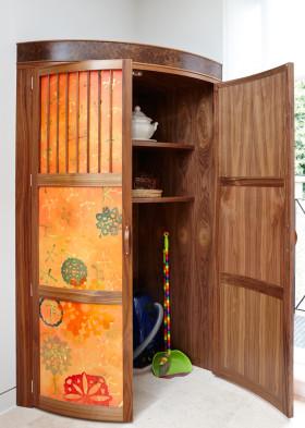 橙色复古原木中式收纳柜装潢设计