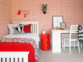 红色现代风格卧室壁纸装修效果图片