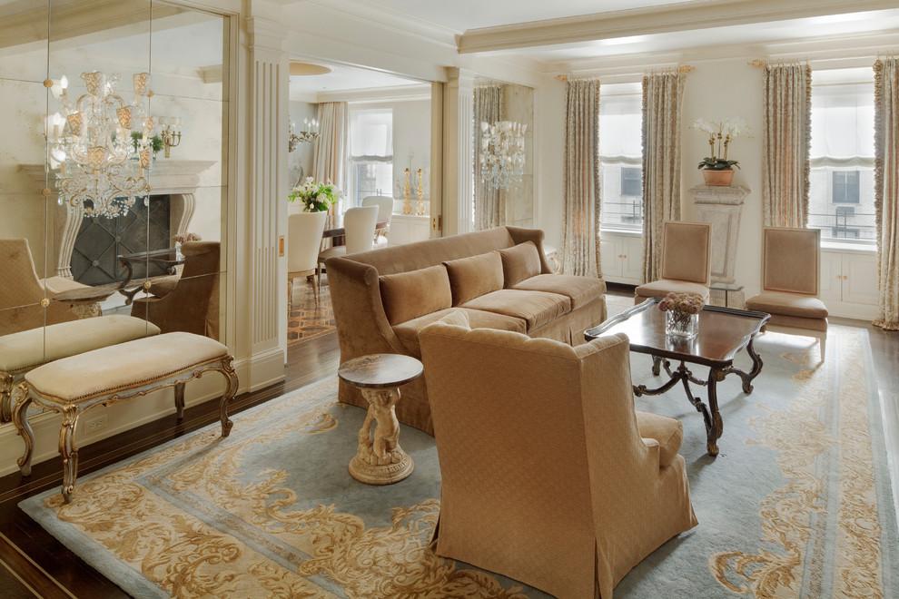 欧式风格轻奢米色客厅效果图设计图片
