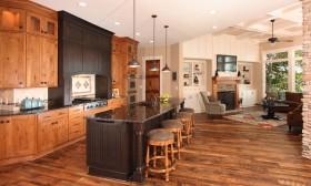 原木色美式风格厨房吧台效果图赏析