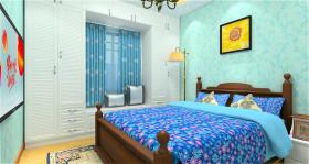 蓝色田园风格卧室装饰设计图片