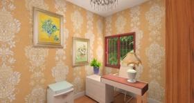 简洁欧式风格橙色书房装潢