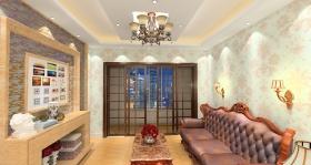 米色混搭风格客厅吊顶装修效果图片