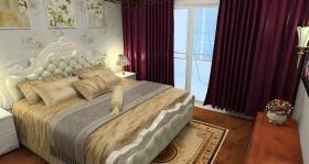 欧式红色卧室装修效果图