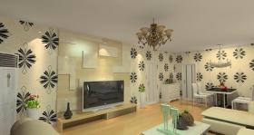 简约风格米色客厅背景装饰墙美图赏析