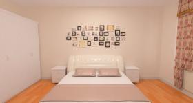 简约米色卧室照片墙装修图片