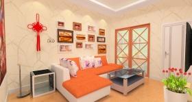 简约橙色客厅效果图欣赏