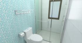 简约风格蓝色卫生间墙面设计图片