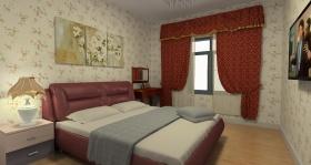 红色田园风格卧室装修图