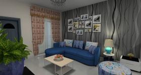 灰色简约风格客厅设计装潢效果图