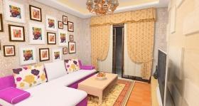 现代田园风格米色客厅设计图