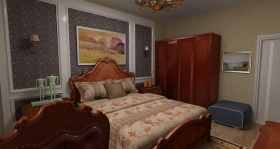 红色新中式风格卧室设计图片