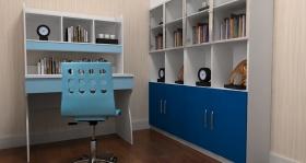 蓝色简约风格儿童书房装潢案例