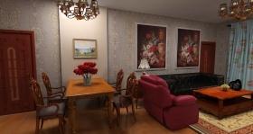 新古典餐厅客厅一体式装修效果图