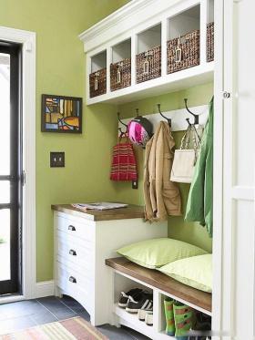 混搭风格清新绿色鞋柜美图赏析