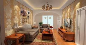 橙色简欧风格客厅美图