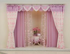 粉色浪漫温馨简欧风格窗帘效果图