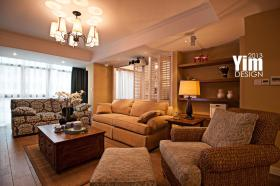 橙色混搭风格客厅装修效果图片
