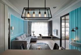 蓝色美式风格餐厅吊灯装修布置